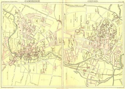 OXON CAMBS. Cambridge Oxford. Town Plans. Black 1892 old antique map chart