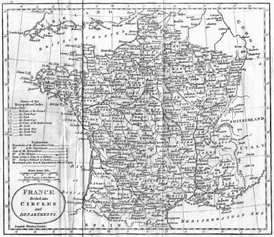 FRANCE. Circles & departments. Guthrie 1801 old antique vintage map plan chart