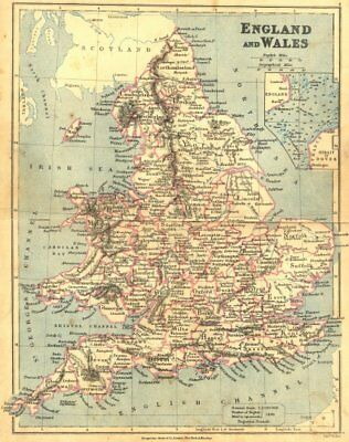 UK. England Wales. LONGMANS 1897 old antique vintage map plan chart