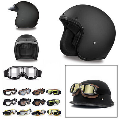 3/4 Motorcycle Helmet Black Open Face Helmet Cruiser ALL SIZES ADULT Goggles NEW