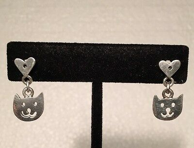 Vintage Sterling Silver 925 Cat Lover Dangle Pierced Earrings Kitty Heart