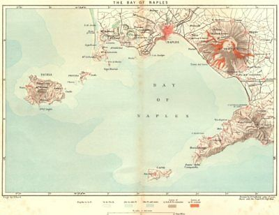ITALY. Bay of Naples c1885 old antique vintage map plan chart