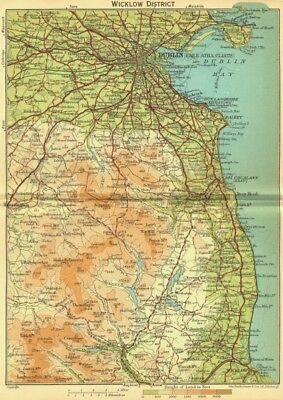 IRELAND. Wicklow District; area of Dublin 1932 old vintage map plan chart