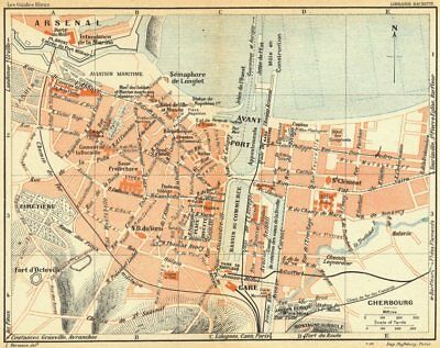 NORMANDY. Normandie. Cherbourg 1928 old vintage map plan chart