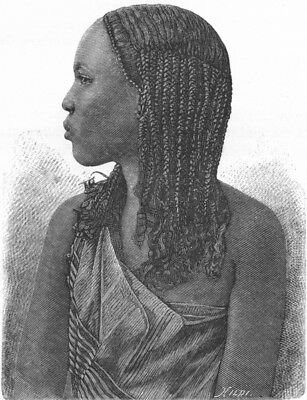 SOMALIA. Somali Girl c1885 old antique vintage print picture