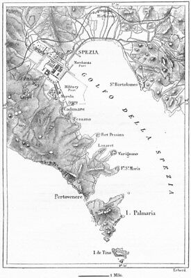 ITALY. Gulf of La Spezia, sketch map c1885 old antique vintage plan chart