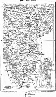 SOUTH INDIA. Protestant Anglican Church Missionary stations. Madras 1897 map