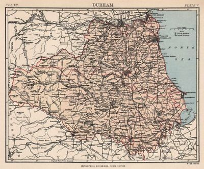 COUNTY DURHAM. County map. Railways. Sunderland Newcastle-upon-Tyne 1898