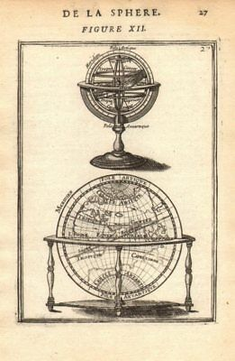 ARMILLARY SPHERE. compared to a Globe. Astrolabe. MALLET 1683 old antique map