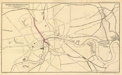 Proposed CHARING CROSS JUNCTION RAILWAY.Northern Line precursor.GILES 1855 map