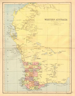 WESTERN AUSTRALIA. State map showing only 26 counties. Perth 1876 old