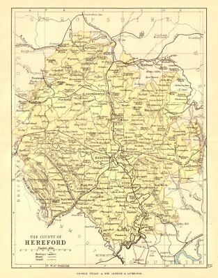 HEREFORDSHIRE. Antique county map. Railways roads canals. PHILIP 1884 old