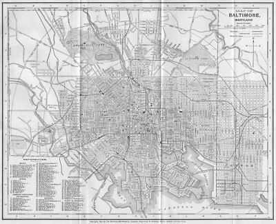 BALTIMORE, MARYLAND. Antique City Town map plan 1893 old chart