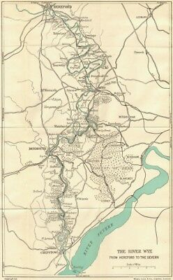 WALES. Wye valley Hereford to Severn c1950 old vintage map plan chart