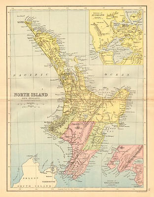 NORTH ISLAND NEW ZEALAND with 1859-1873 provinces. Wellington Auckland 1876 map