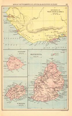 BRITISH AFRICAN COLONIES. West Africa Ascension St. Helena Mauritius 1876 map