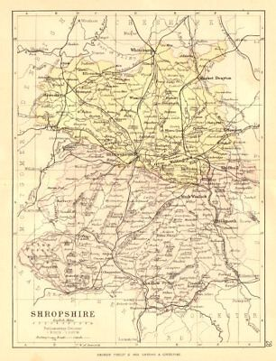 SHROPSHIRE. Antique county map. Railways canals. Constituencies. PHILIP 1884