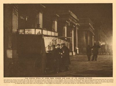 The coffee stall at Hyde Park Corner by St George's Hospital 1926 old print