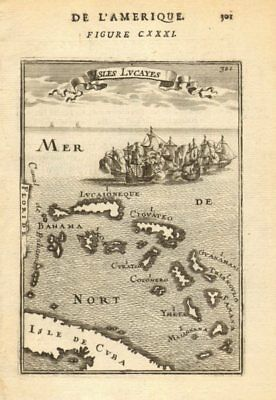 BAHAMAS. 'Isles Lucayes'. Abacoa Lucaioneque Curateo Ciguateo. MALLET 1683 map