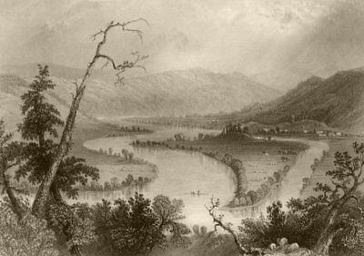 View on the Susquehanna (above Owego), New York. WH BARTLETT 1840 old print