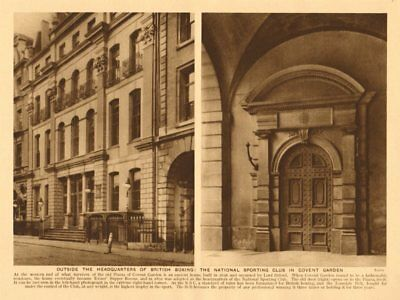 British Boxing headquarters. National Sporting Club, Covent Garden 1926 print