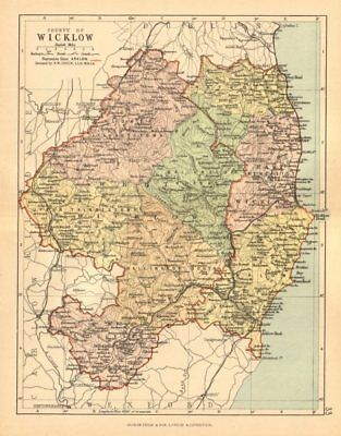 COUNTY WICKLOW. Antique county map. Leinster. Ireland. BARTHOLOMEW c1902
