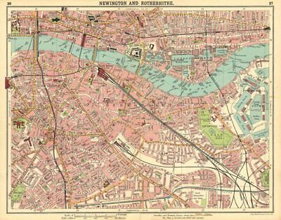 LONDON.Newington Rotherhithe Bermondsey Shadwell Borough Surrey Docks 1921 map