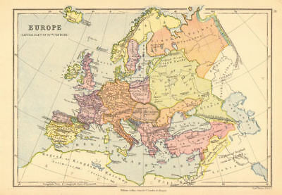 'Europe (Latter part of 10th Century)'. BARTHOLOMEW 1876 old antique map chart