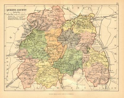 QUEENS COUNTY (LAOIS) . Antique county map. Leinster. Ireland. BARTHOLOMEW c1902