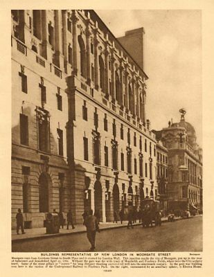 Moorgate. City of London. Electra House 1926 old vintage print picture