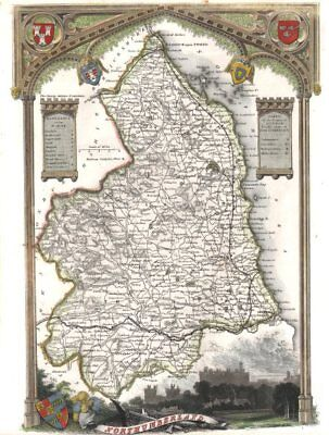 Northumberland antique hand-coloured county map. Railways. MOULE c1840 old