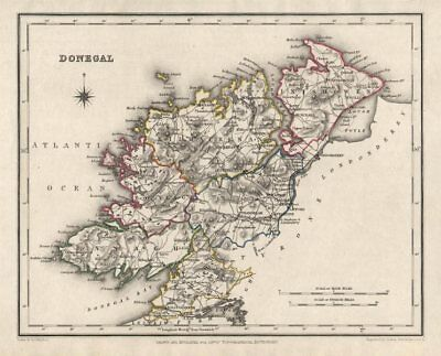 COUNTY DONEGAL antique map for LEWIS by CREIGHTON & DOWER. Ireland 1846