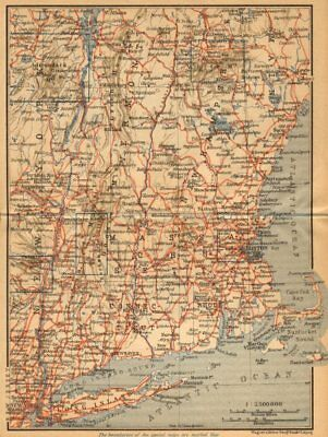 RAILWAY MAP OF THE NEW ENGLAND STATES. USA. BAEDEKER 1904 old antique