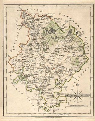 Antique county map of HUNTINGDONSHIRE by JOHN CARY. Kimbolton St Neots 1793