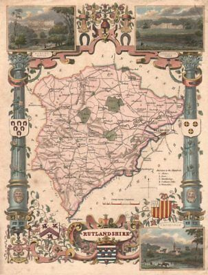Rutlandshire antique hand-coloured county map. Pink & turquoise. MOULE c1840