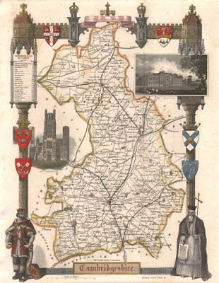 Moule C1840 Old Buy One Give One Lincolnshire Antique Hand-coloured County Map Railways