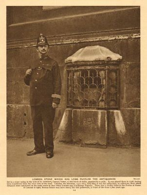 London Stone, St Swithin's, Cannon Street. Policeman 1926 old vintage print