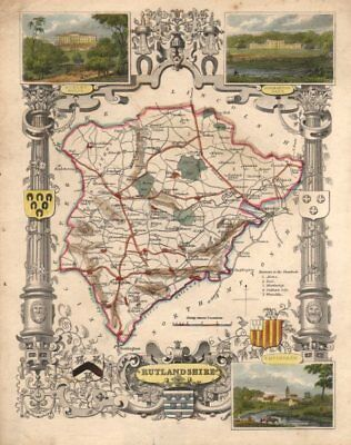 Rutlandshire antique county map hand coloured in outline. MOULE c1840 old