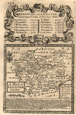'A Map of Leicester-Shire'. County map by OWEN & BOWEN. Leicestershire 1753