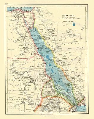 RED SEA. Egypt Eritrea Hedjaz Asir Yemen. Nile valley. Sudan. JOHNSTON 1920 map
