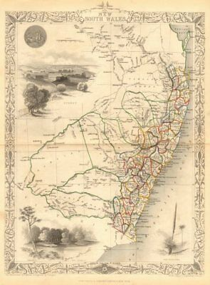 NEW SOUTH WALES. Sydney vignette. Explorers routes.TALLIS/RAPKIN 1849 old map