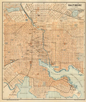 BALTIMORE antique town city plan. Maryland. BAEDEKER 1904 old map