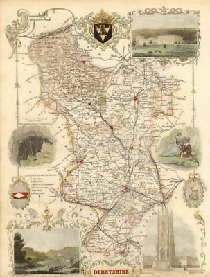 Derbyshire antique hand-coloured county map by Thomas Moule c1840 old