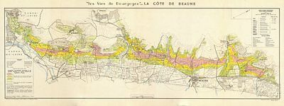 BURGUNDY BOURGOGNE WINE MAP La Côte de Beaune. Vineyards vignobles. LARMAT 1953
