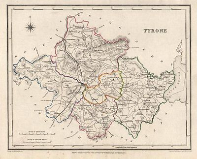 COUNTY TYRONE antique map for LEWIS by CREIGHTON & DOWER. Ulster 1846 old