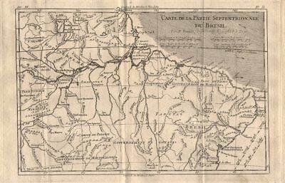 """Carte de la partie septentrionale du Bresil"". Northern Brazil. BONNE 1780 map"