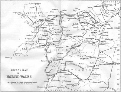WALES. Sketch map of North Wales 1874 old antique vintage plan chart