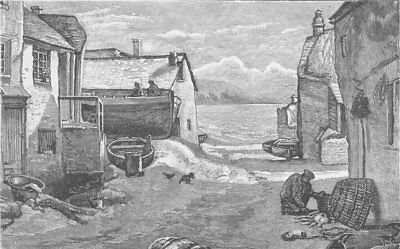 CORNWALL. Village of Cornish crabbers 1893 old antique vintage print picture