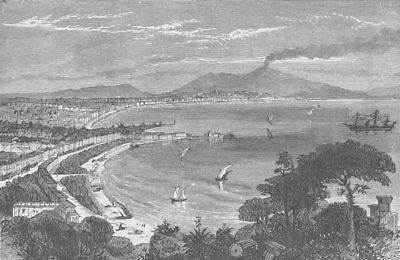 ITALY. The Bay of Naples 1893 old antique vintage print picture