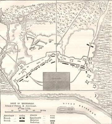 GEORGIA. Plan of position before Savannah c1880 old antique map chart